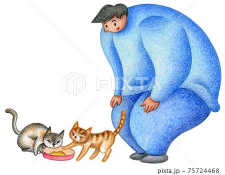 猫に餌やりをする男性 75724468