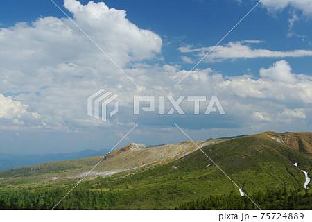 信州志賀高原渋峠から望む白根山と初夏の空 75724889
