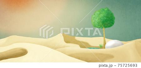 砂漠の中オアシス〜白っぽい砂、白昼夢のようなグラデーションの空に一本の木と巨大な卵、再生と復活の風景 75725693