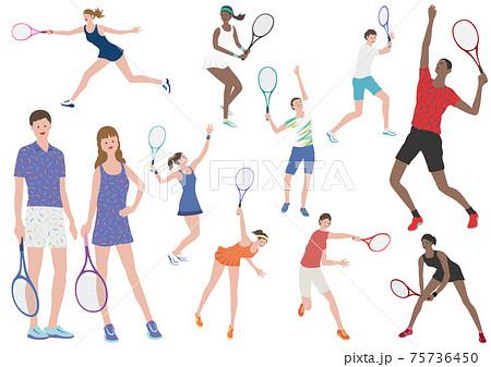 テニスプレーヤーのフラットなイラストセット 75736450
