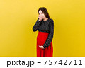 Pregnant woman suffering from toxicosis. Toxicosis Of Pregnancy. Pregnant Lady Feeling Sick Having Nausea Standing On Colored isolated Background. Free Space 75742711