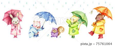 雨と傘をさした動物たちのセット 手描き色鉛筆画 75761064