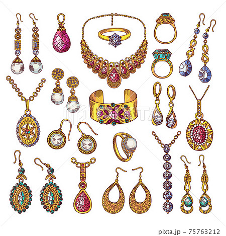 Colored hand drawn pictures of luxury vintage jewelry 75763212