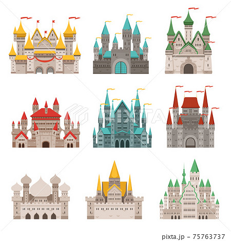 Medieval old castles and historical buildings with fairytale roofs 75763737