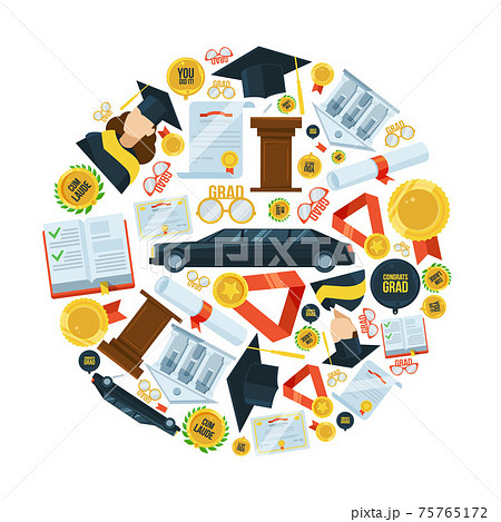 Graduation icon set in circle shape. Students party 75765172