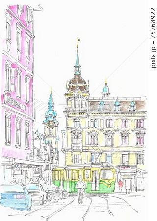 世界遺産の街並み・オーストリア・グラーツの市庁舎 75768922