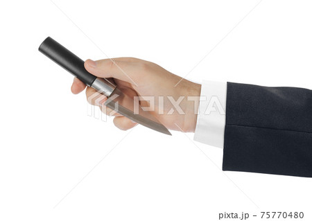 Hand is throwing a knife 75770480
