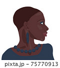 Portrait of beautiful african american girl. Young elegant black woman head profile bust with short hair, blue feather earing and string of beads isolated on white background. Beauty, fashion concept 75770913