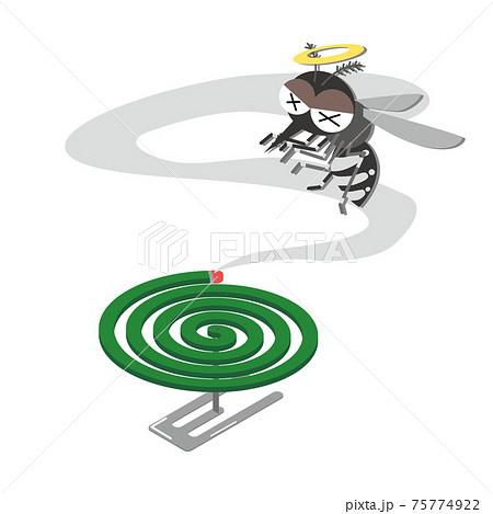 蚊取り線香で蚊を退治するイラスト 75774922