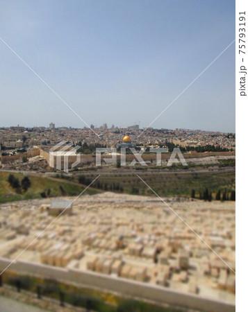 エルサレム 神殿の丘 ジオラマ風 75793191