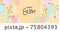 Happy Easter greeting card. Trendy design with typography, hand drawn easter eggs, twigs, leaves and dots in pastel colors. Modern flat minimal style. Horizontal poster, header or banner for website 75804393