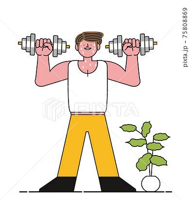 ダンベルでトレーニングする男性 75808869