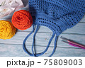 Blue Handmade Knitting Bag on Wood Table with Yarn Ball and Knitting Needles 75809003