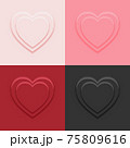 Top view heart shape display podium stand 4 colors background in neumorphism style mockup template for product or promotion. 75809616