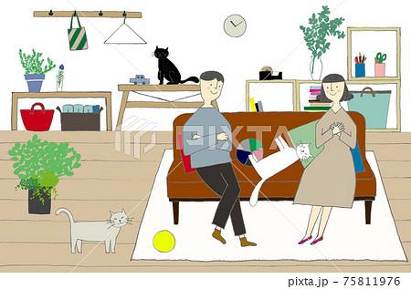 夫婦とペットの暮らし 75811976