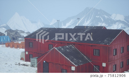 science station in Antarctica at summer 75812906