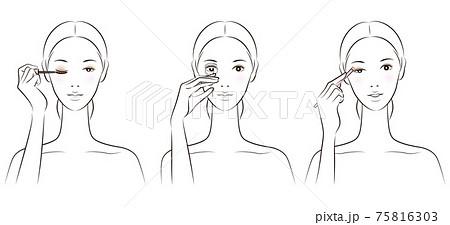 メイクをしている女性のイラスト 75816303