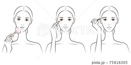 メイクをしている女性のイラスト 75816305