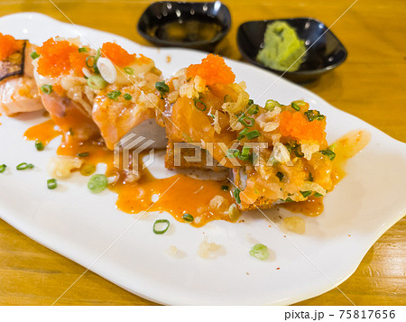 Sushi roll with salmon, Japanese food 75817656