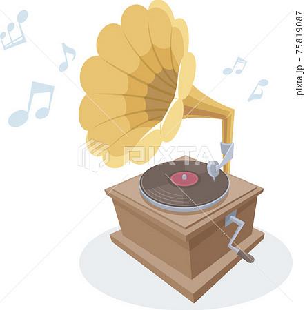 レコードを鳴らす、レトロな蓄音機。 75819087