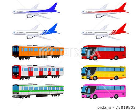 飛行機と電車とバスのセット イラスト アイコン 75819905