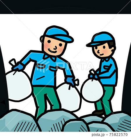 収集車にゴミを積む作業員 75822570