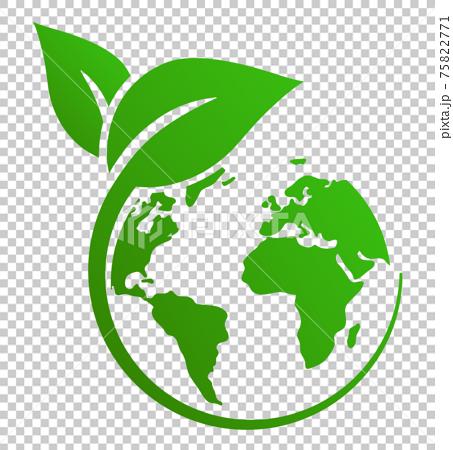잎과 지구의 생태 아이콘 표시 75822771