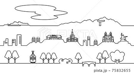 長崎市の街並 モノクロ線画 75832655