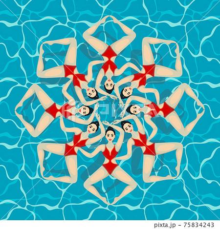 Synchronized swim. Vector 75834243