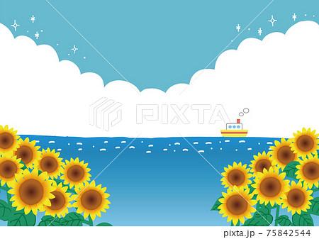 夏の海と入道雲と空と向日葵の風景イラスト 75842544