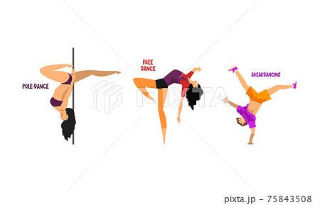 Set of Various Styles of Dancing, People Dancing Pole, Free, Break Dances Cartoon Vector Illustration 75843508