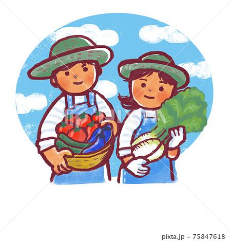 青空をバックに収穫をした野菜を持っている2人の人物 75847618