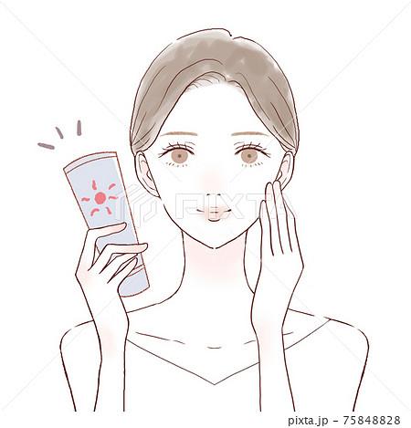 日焼け止めクリームを塗る女性 75848828