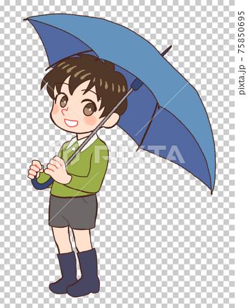우산을 장화를 신은 소년의 그림 75850695