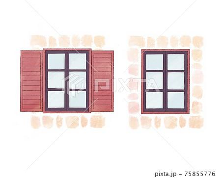 煉瓦に囲われた赤茶色の窓扉と茶色枠の窓 75855776