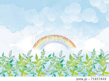 新緑と青空の背景素材 手書き 水彩 景色 風景 75857849