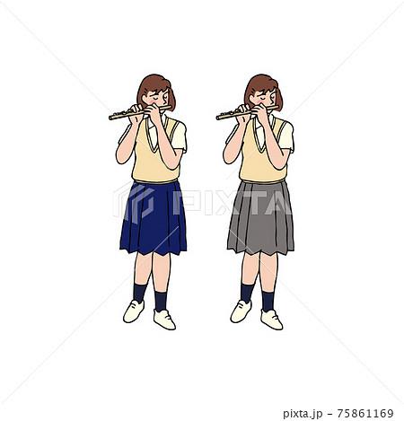 フルートを吹く女子高生 75861169