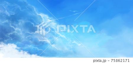 夏の空の風景イラスト(コバルトブルー) 75862171