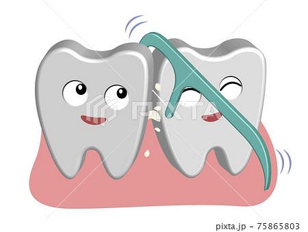 半立体のデンタルケアイラスト-糸楊枝で歯垢を取り除く 75865803
