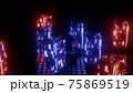 4K UHD 3D illustration of metal ball near neon blocks 75869519