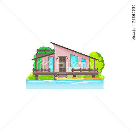 Bungalow wooden house on water with palm trees 75869659