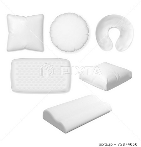 Bedroom pillow set isolated on white background 75874050