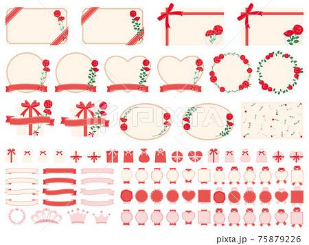カーネーションとバラを装飾したメッセージカードのイラストセット 母の日に贈る花 75879226