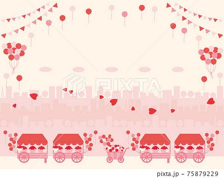 カーネーションとバラを積んだ荷車と街並みのシルエットの背景イラスト 母の日に贈る花 75879229