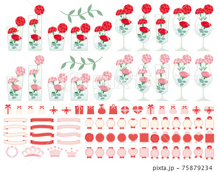 カーネーションとバラをフラワーアレンジメントしたグラスのイラストセット 母の日に贈る花 75879234