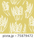 Seamless decorative hand drawn floral pattern with white fluffy dry grass stems on yellow background. Vintage retro style. Vector design for fabric textile, wallpaper, wrapping paper, package, cover. 75879472