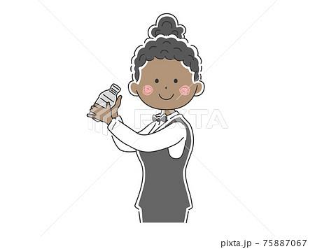 カクテルを作る黒人女性バーテンダーのイラスト 75887067