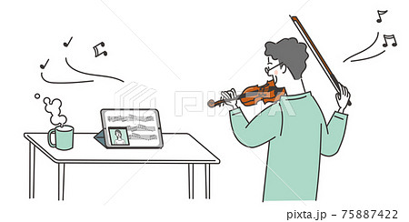 オンラインでバイオリンを習う男性 75887422