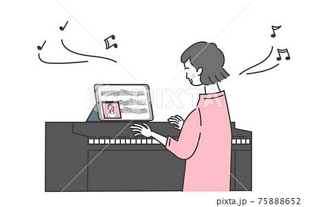オンラインでピアノを習う女性 75888652