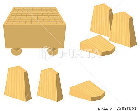将棋盤と将棋の駒 75888901